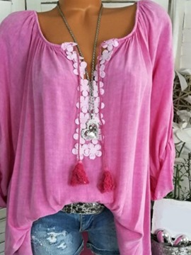 Ericdress Regular Tassel V-Neck Long Sleeve Mid-Length Blouse