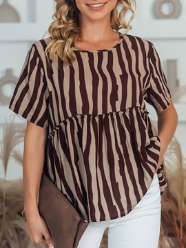 Ericdress Round Neck Regular Stripe Short Sleeve Standard Blouse