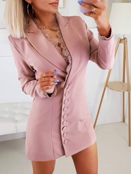 Ericdress Plain Notched Lapel Long Sleeve Mid-Length Regular Blazer