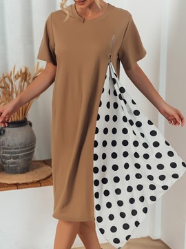 Ericdress Round Neck Polka Dots Long Western Loose T-Shirt