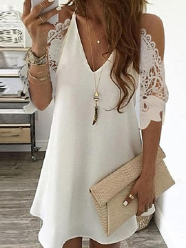 Ericdress Lace V-Neck Above Knee A-Line Summer Dress