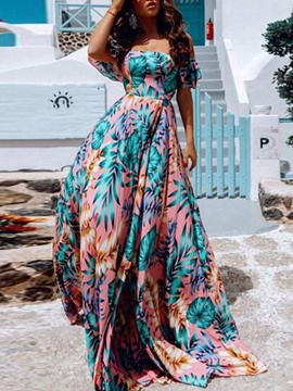Ericdress Floor-Length Short Sleeve Print Expansion Floral Dress