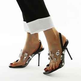 Ericdress Slip-On Toe Ring Stiletto Heel Rhinestone Sandals