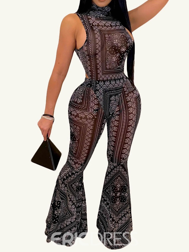 Ericdress Floral Jumpsuit Sexy Bellbottoms Pullover Two Piece Sets