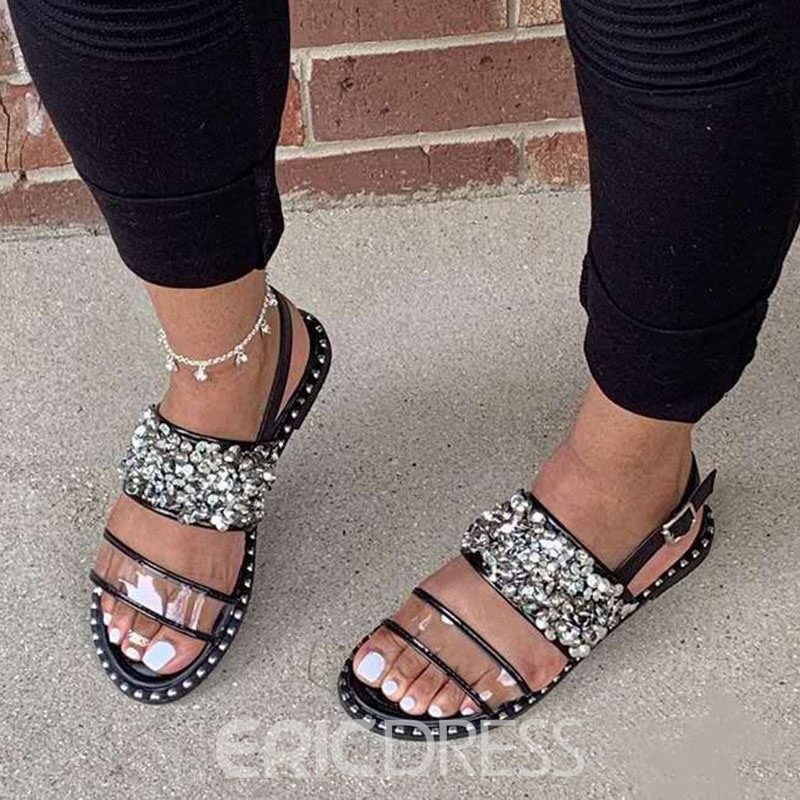 Ericdress Flat With Open Toe Buckle Plain Sandals