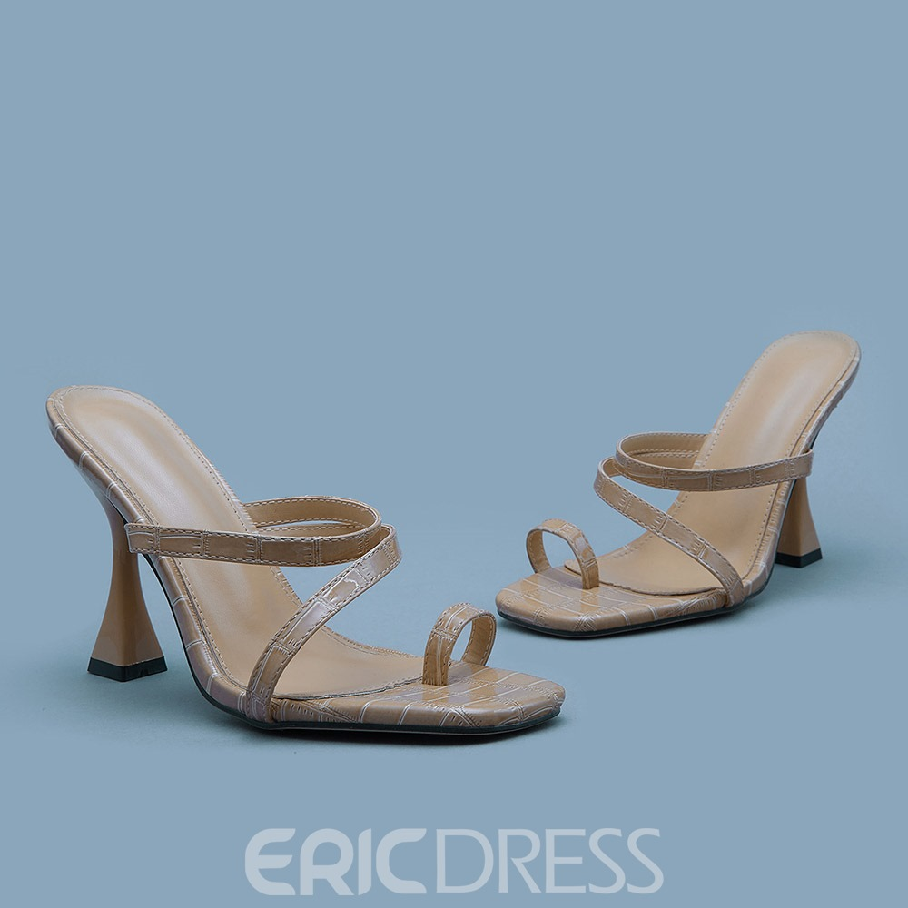 Ericdress Alligator Pattern Chunky Heel Toe Ring Patchwork Slippers