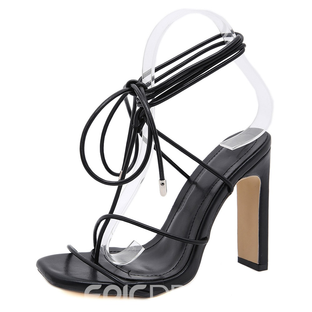 Ericdress Square Toe Chunky Heel Lace-Up Western Sandals