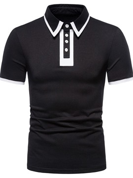 Ericdress Polo Neck European Patchwork Polo Shirt