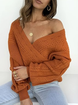 Ericdress Thin Long Sleeve V-Neck Sweater