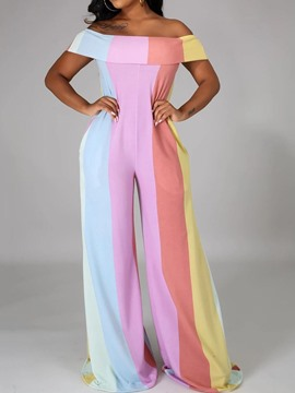 Ericdress Sexy Color Block Full Length Wide Legs Loose Jumpsuit