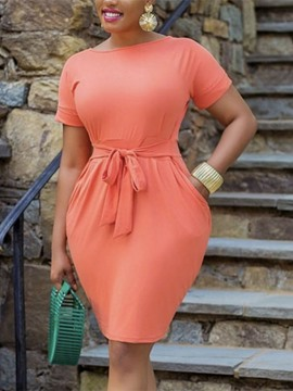 Ericdress Lace-Up Round Neck Above Knee Summer Casual Dress