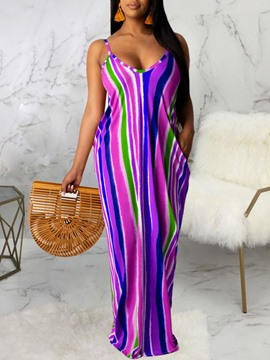 Ericdress V-Neck Print Floor-Length Spaghetti Strap Straight Dress