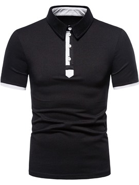 Ericdress Patchwork European Color Block Polo Shirt