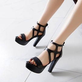 Ericdress Zipper Open Toe Zipper Sandals