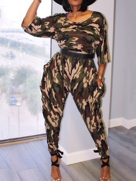 Ericdress Ankle Length Camouflage Western Pencil Pants Slim Jumpsuit
