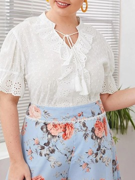 Ericdress Plain Tassel Short Sleeve Mid-Length Blouse