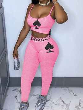 Ericdress Ankle Length Pants Sports Geometric Pencil Pants Pullover Two Piece Sets