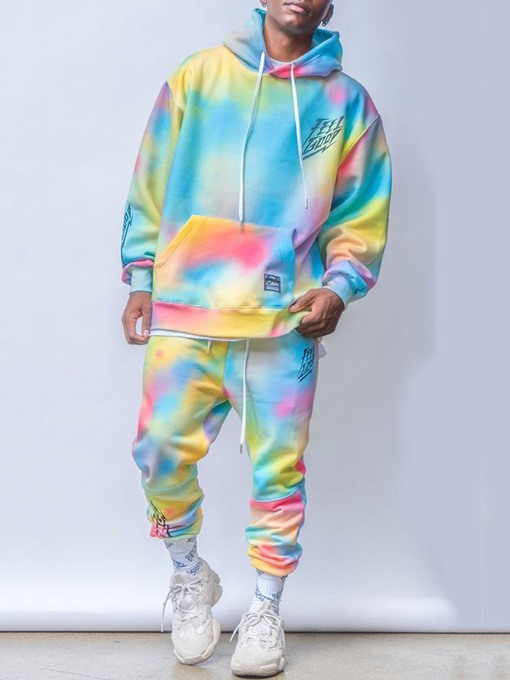 Ericdress Color Block Tie-Dye Pants Fall Outfit