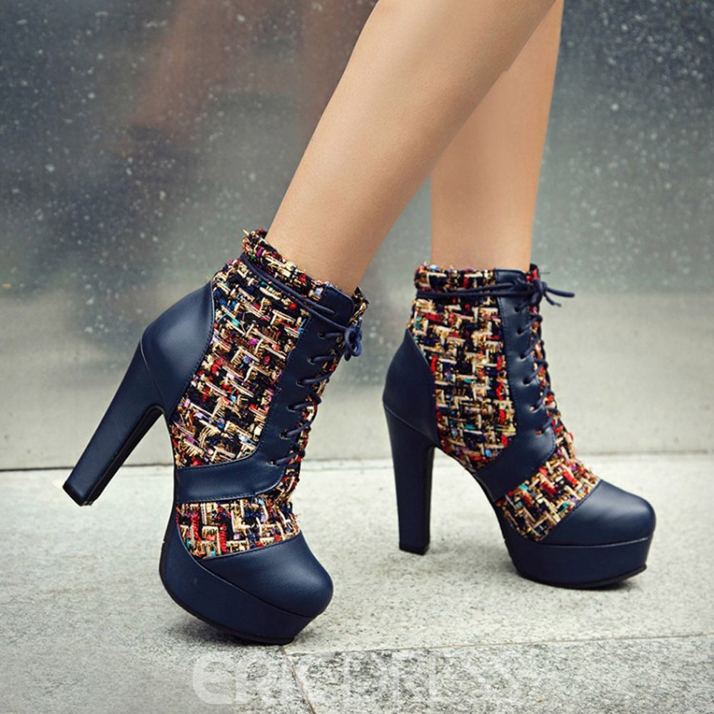 Ericdress Color Block Lace-Up Front Closed Toe Lace-Up Boots
