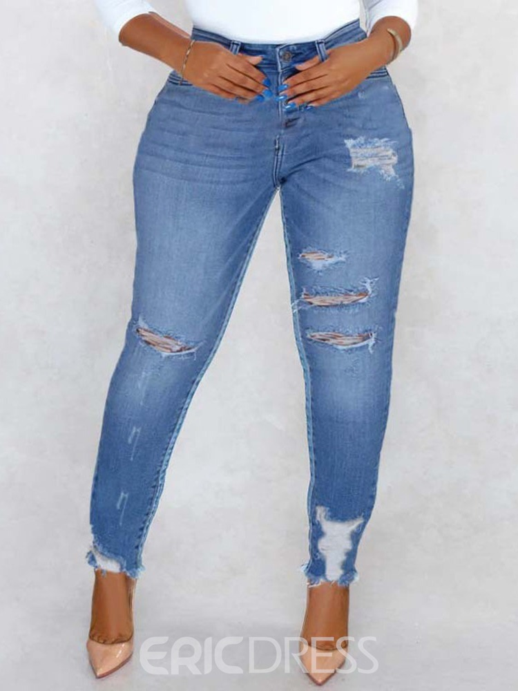 Ericdress Button Pencil Pants Button Skinny Jeans