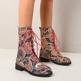 Ericdress Lace-Up Front Color Block Round Toe Cross Strap Boots