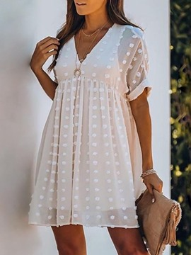 Ericdress See-Through Above Knee V-Neck Polka Dots A-Line Dress