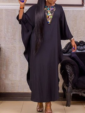 Ericdress Ankle-Length Nine Points Sleeve Round Neck Asymmetrical Batwing Sleeve Dress