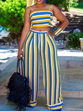 Ericdress Stripe Fashion Pants Wide Legs Pullover Two Piece Sets