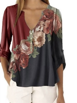 Ericdress Button V-Neck Regular Standard Three-Quarter Sleeve Blouse