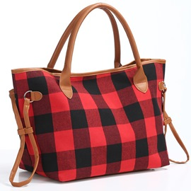Ericdress Print Polyester Plaid Rectangle Tote Bags