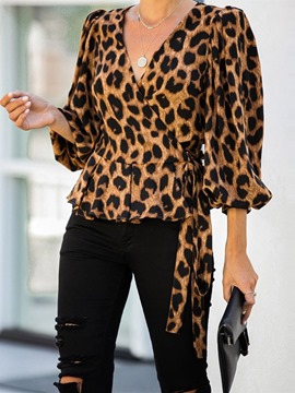 Ericdress Lantern Sleeve V-Neck Leopard Three-Quarter Sleeve Standard Blouse