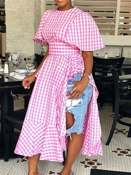 Ericdress Asymmetric Plaid Round Neck Long Short Sleeve Blouse