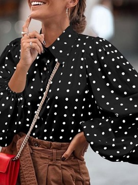 Ericdress Button Polka Dots Lantern Sleeve Mid-Length Long Sleeve Blouse