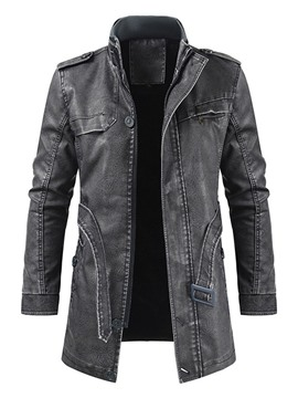 Ericdress Mid-Length Plain Stand Collar Zipper Slim Leather Jacket