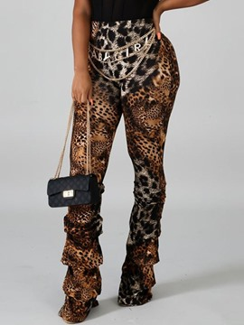 Ericdress Slim Leopard Full Length Casual Pants
