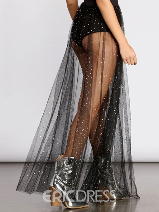 Ericdress Expansion See-Through Floor-Length Sexy Skirt