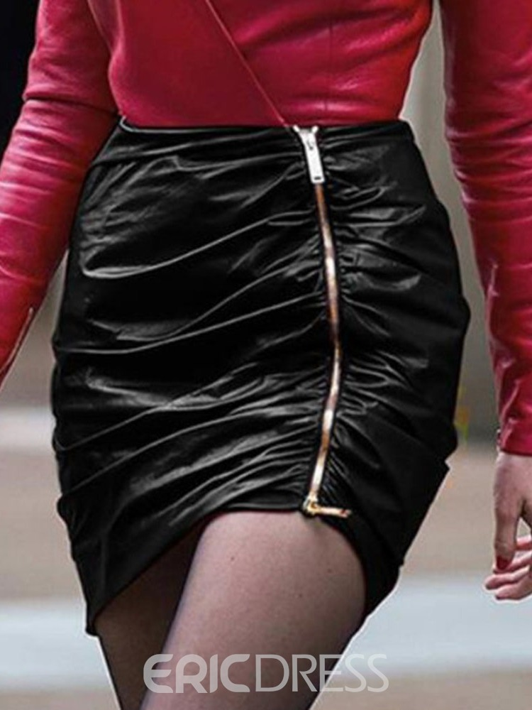 Ericdress Zipper Mini Skirt Plain Sexy Skirt
