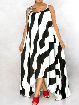 Ericdress Print Floor-Length Sleeveless Summer Asymmetrical Dress