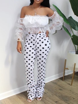 Ericdress Sexy Polka Dots Mesh Bellbottoms Pullover Two Piece Sets