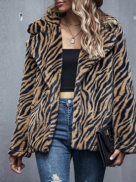 Ericdress Lapel Stripe Mid-Length Loose Faux Fur Overcoat