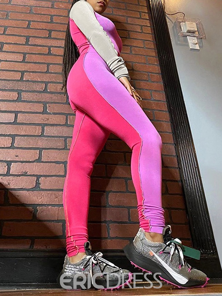 Ericdress Color Block Polyester Full Length Running Clothing Sets