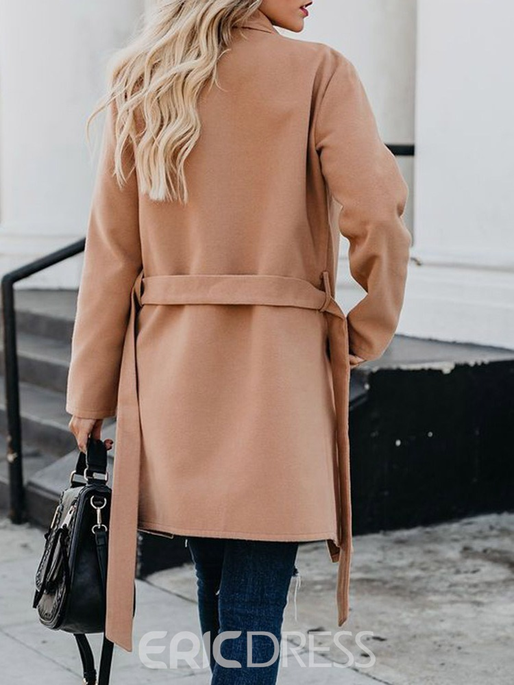 Ericdress Belt Slim Long Winter Overcoat