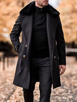 manteau slim à revers mi-long avec poche ericdress