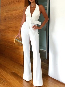 Ericdress Full Length Plain Fashion Bellbottoms Slim Jumpsuit