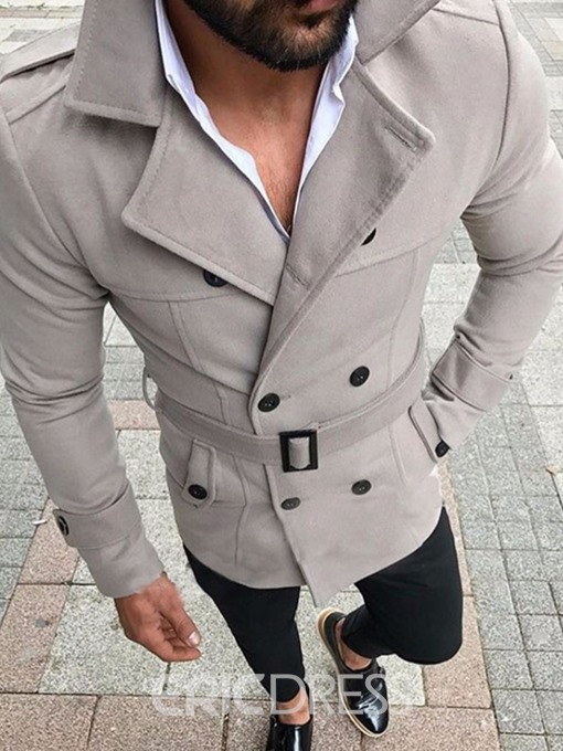 Ericdress Mid-Length Button Plain Winter Double-Breasted Trench Coat