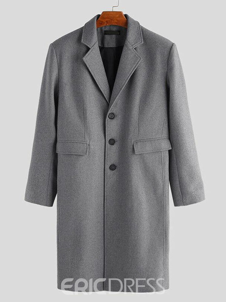 Ericdress Mid-Length Notched Lapel Plain Winter England Coat