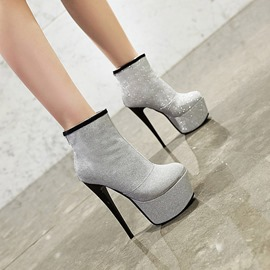 Ericdress Back Zip Round Toe Stiletto Heel Zipper Boots