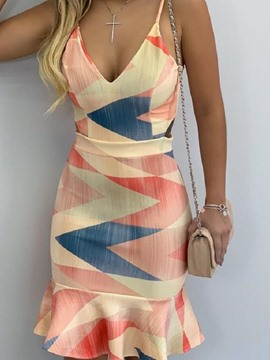 Ericdress V-Neck Sleeveless Print Summer Color Block Dress