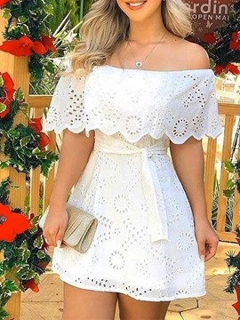Ericdress Short Sleeve Lace-Up Off Shoulder A-Line Date Night/Going Out Dress