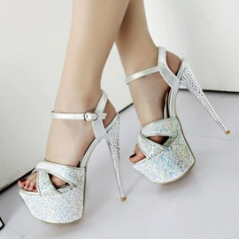 Ericdress Buckle Stiletto Heel Open Toe Platform Sandals